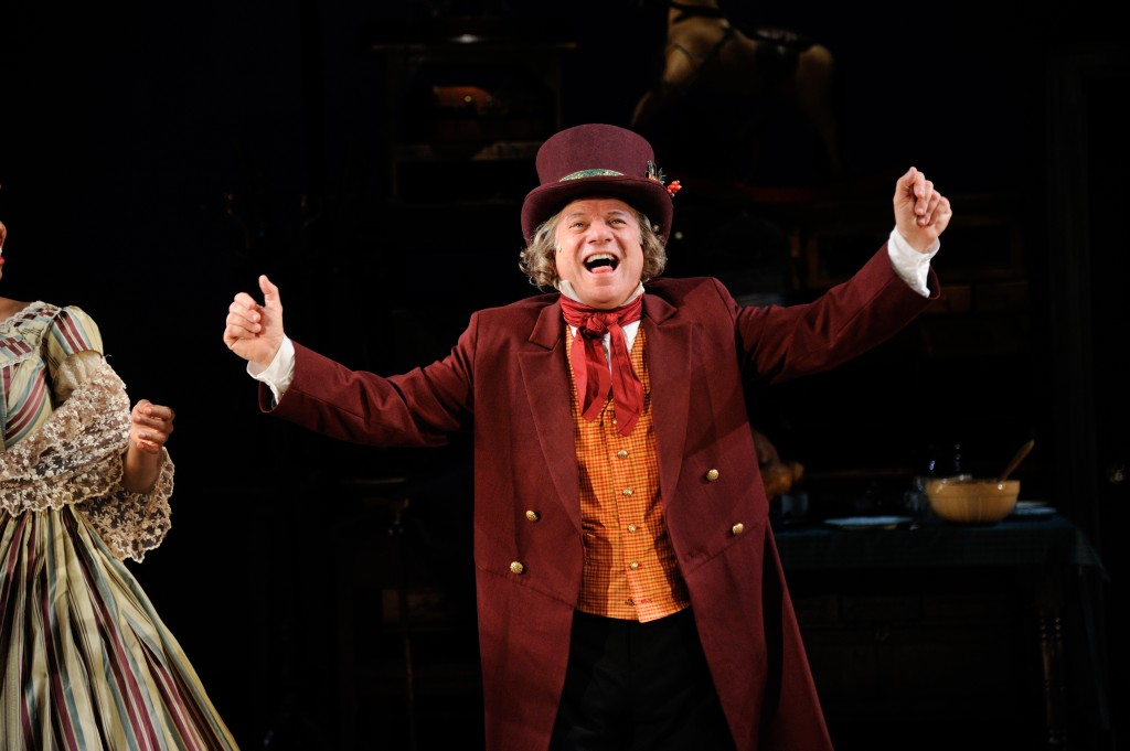 Stephen Berenson as Ebenezer Scrooge in Charles Dickens' A Christmas Carol at Trinity Rep, directed by Curt Columbus. Set design by Deb O, costume design by Toni Spadafora, lighting design by Josh Epstein. Photo Mark Turek.